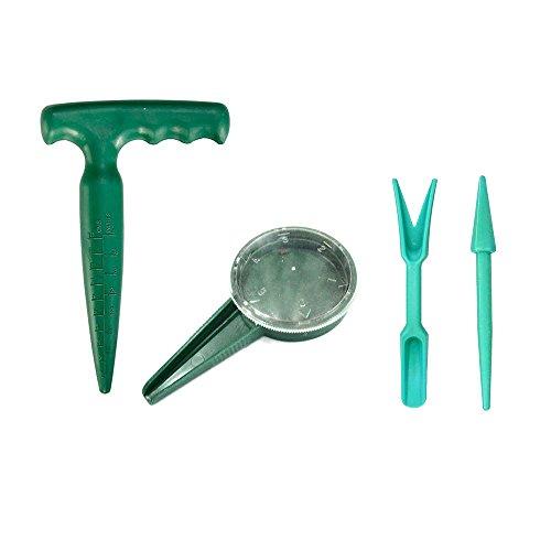 4er Set - Mini Garten Sämling Werkzeug Sets Pikierset, Pistolengriff Pikierstab, Zifferblatt Seed Sämann, Pflanzmaschine/ Pikierholz und Pikierstab