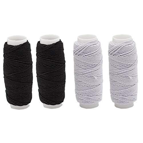 Warmsky 4pcs Thickness Round Shirring Elastic Craft Cord Thread, Black and White Color