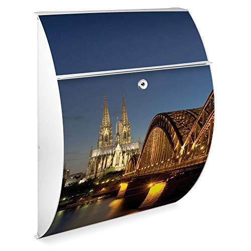 Burg Wächter Design Standbriefkasten | Modell Riviera 46cmx33,5cmx13cm groß | verzinkter Stahl Weiß mit Ständer | Postkasten freistehend, großer A4 Einwurf, 2 Schlüssel | Briefkasten mit Motiv Köln