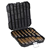 99 Pieces Titanium Twist Drill Bit Set, Anti-Walking 135 Tip High Speed Steel, Size from 1/16' up to 3/8', Ideal for Wood/Steel/Aluminum/Zinc Alloy, with Hard Storage