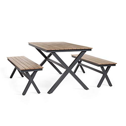 VonHaus Garden Table and Bench Set – 4 Seater Outdoor Dining Set - Industrial Wood Effect look with Aluminium Frame – Weatherproof – Garden Furniture for Patio, Decking, Balcony, Conservatory, Indoor