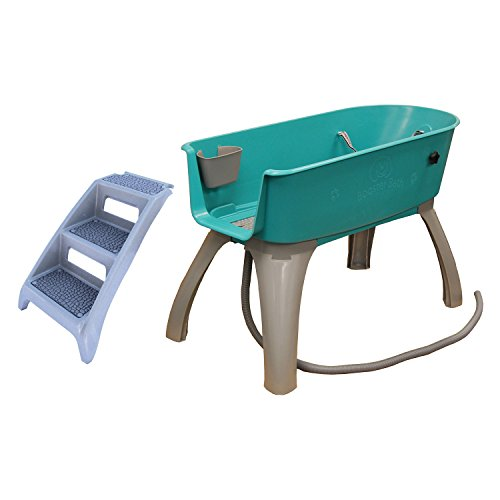 Booster Bath Elevated Pet Bathing X-Large with Step Combo (Combo), Teal, Model:BB-XL-Step