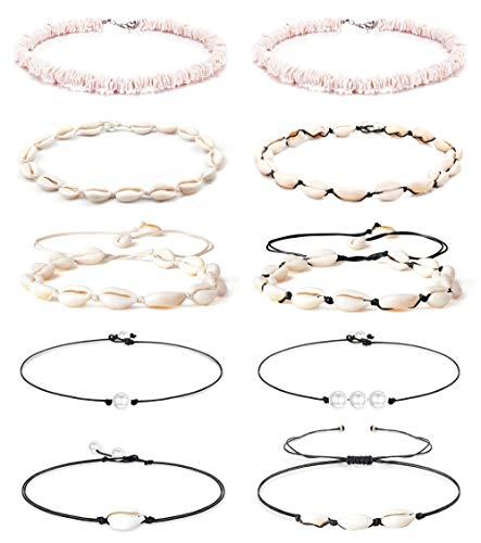 Finrezio 10PCS Natural Puka Shell Choker Necklace Set for Women Hawaiian Seashell Beach Necklace Pearls Choker Cord Necklace Jewelry