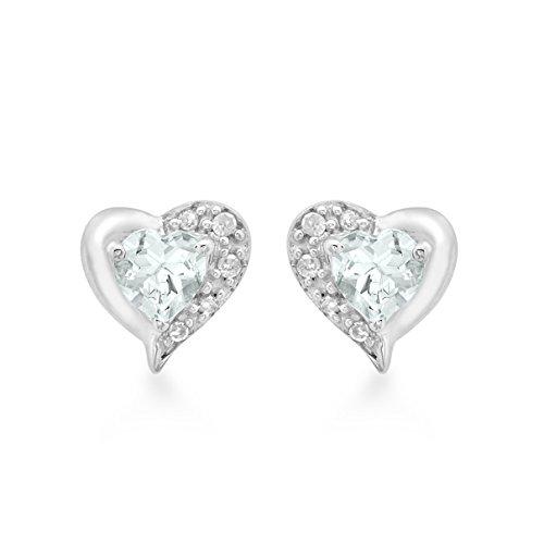 Carissima Gold 9ct White Gold Diamond and Aquamarine Heart Stud Earrings