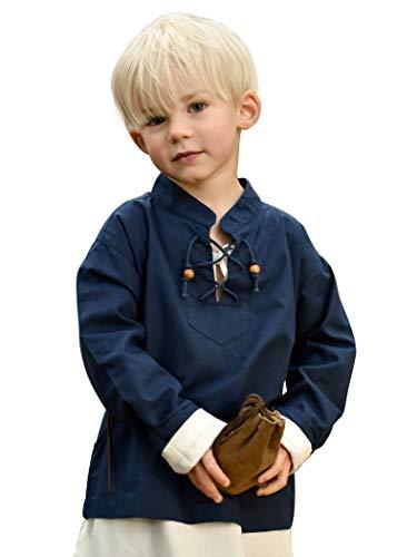 Battle-Merchant Mittelalterhemd Kinder Colin, langärmlig, Ritterhemd LARP Mittelalter Fasching - Blau, Gr. 164