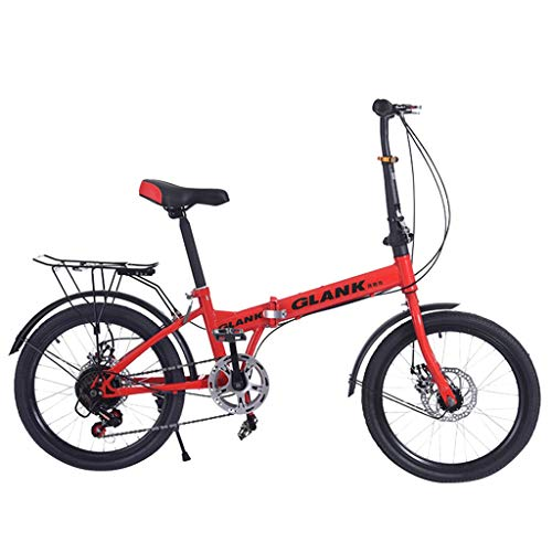 Best Deals! Joysale Mini Folding Bike Bicycle, 20 Inch Lightweight Foldable Bike Best for Adult Student(Red)