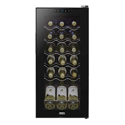 Baridi 18 Bottle Wine Cooler, Fridge, Digital Touch Screen Controls & LED Light, Low Energy A, Black