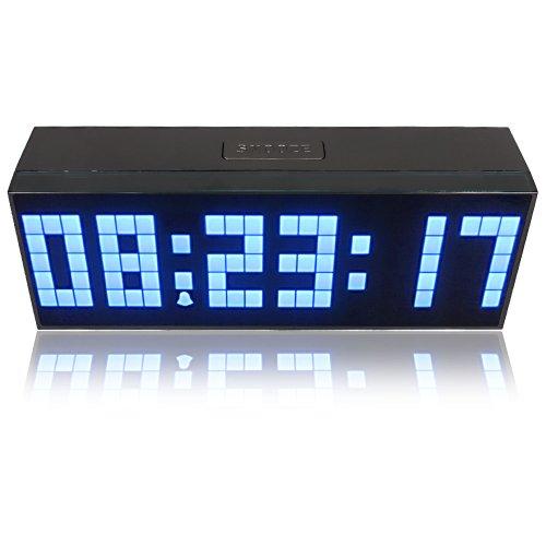 KEEDOX Digital Large Big Jumbo LED snooze wall desk alarm calendar indoor clock (Blue)