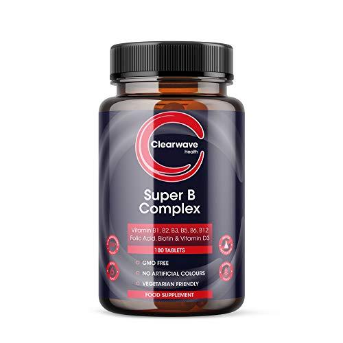 Super Vitamin B Komplex Hochdosiert - 180 Tabletten (6 Monate) mit Vitamin D3 und allen 8 B Vitamine - B1, B2, B3, B5, B6, B12, Biotin, Folsäure - Clearwave Health