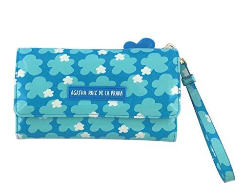 Monedero Cartera Billetero Grande para el movil de Mujer de Cuero Estampado Azul Cielo con Nubes Agatha Ruiz de la Prada