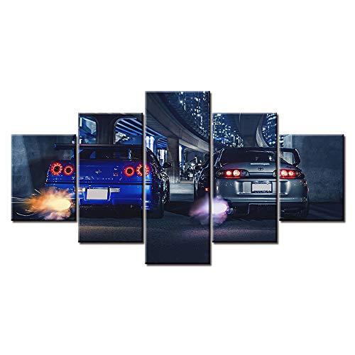 SKSKUE leinwand HD Print Große Skyline GTR VS Supra Auto Moderne Dekorative auf Wandkunst für Wohnkultur Wanddekor 5 stücke (Nur Leinwandmalerei, kein Holzrahmen)
