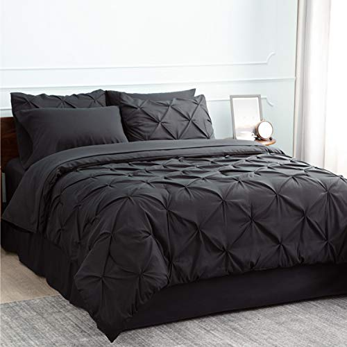 Bedsure Comforter Set Full/Queen Bed in A Bag Black 8 Pieces - 1 Pinch Pleat Comforter(88X88 inches), 2 Pillow Shams, Flat Sheet, Fitted Sheet, Bed Skirt, 2 Pillowcases