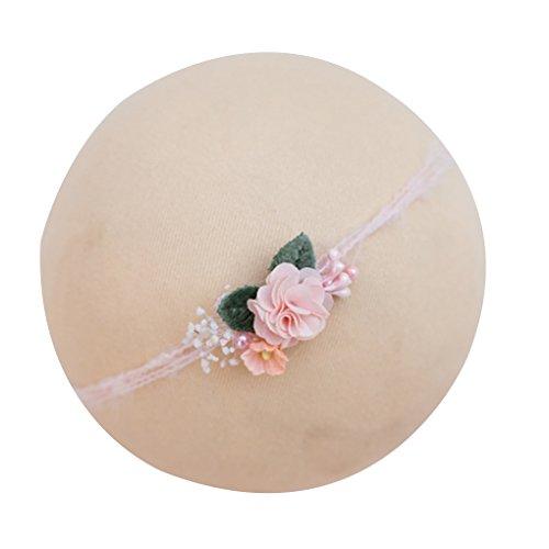 Baby-Blumen-Stirnband-Mädchens Perle Haarband-neugeborenes Kind Kopfbedeckung Foto Props Haarschmuck Mengonee