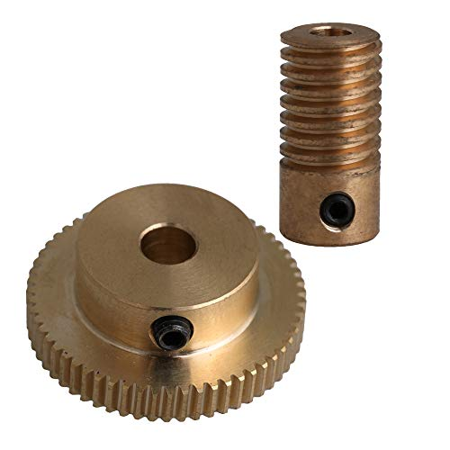 CNBTR 4mm Bore Hole Diameter Brass Worm Gear Shaft with 60 Teeth Worm Wheel 0.5 Modulus Set Drive Gear Box Shaft