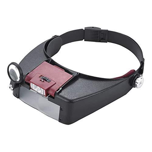 QYHSS Stirnbandlupe, verstellbare Juwelierkopf Stirnbandlampe Lupe, mit LED-Licht, zum Lesen, Schmucklupe, Uhr und elektronische Reparatur