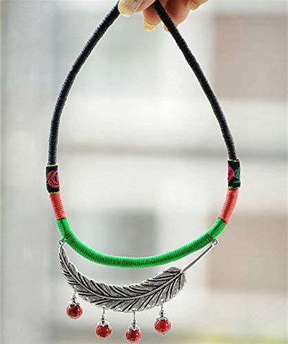 Shability Estilo Tribal Original Pluma Pluma Tibetana Colgando Perlas De Coral Rojo con Trenzado A Mano Collar De Color Envuelto De Color Étnico Joyería yangain