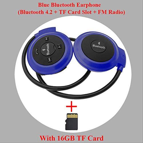 kjzn Hoofdtelefoon Bluetooth Headset Sport Draadloze Hoofdtelefoon Muziek Stereo Koptelefoon B Blue Add 16GB Card