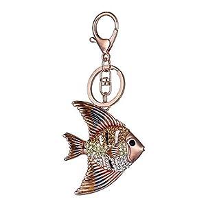 N-brand PULABO – Llavero de gran calidad con diseño de peces de colores brillantes para bolso de mano