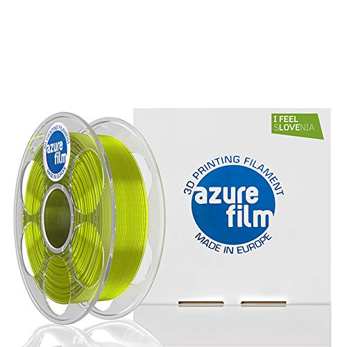 AZUREFILM PETG 3D Professional Printer Filament 1.75 mm - Must Have Printing Accessories for Bringing Your Ideas to Life - High Dimensional Accuracy +/- 0.02mm, 1kg Spool, Yellow Transparent - Bubbles