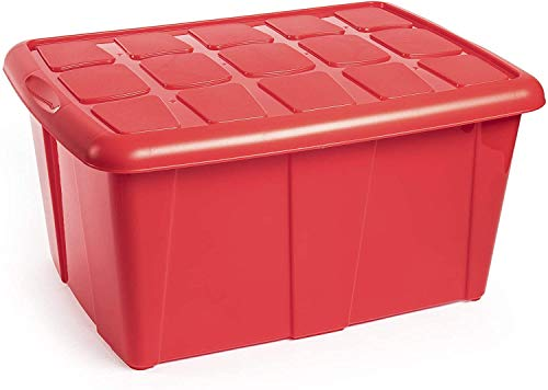 PLASTIC FORTE, Caja de almacenamiento, ROJO, 60 litros, sin ruedas