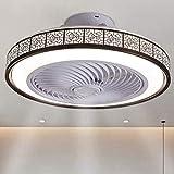 OUJIE Ventilatore A Soffitto con Illuminazione, 72W Fan LED con Telecomando, Regolabile di velocità del Vento E Regolazione, Soffitto Ultra-Ventola Silenziosa Luce,Marrone