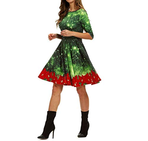 Winter Women's Fashion High Waist Print Christmas Snow Xmas Print Flare Empire Dresses,B,S
