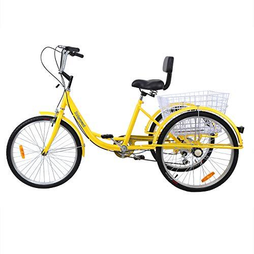 industrial trikes Ridgeyard Road Bike 6 Speed 24 Inch 3 Wheel Adult Tricycle Bike Cycling Pedal Cruiser Bicycles