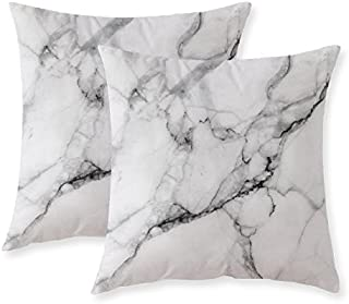 Misscc Marble Pattern Cushion Covers Decorative Throw Pillows For Sofa 24x24 inches Pack of 2,Gray white