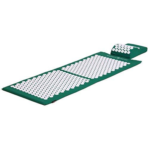 Akupressur-Set VITAL XL (grün): Akupressurmatte (130 x 50cm) mit Akupressur-Kissen im günstigen Set, vitalisierende Matte für den Rücken und Kissen für den Nacken, wohltuende Entspannungsmatte