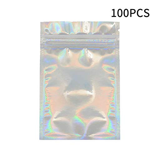 FLOX 100pcs Zip Lock Smell Proof Home Office Lashes Packaging Bags Holographic Color
