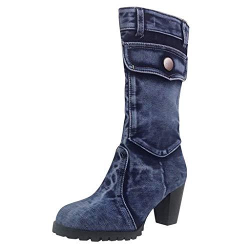 Supertong Damen Stiefeletten Römische Schuhe Mode High Heels Stiefel Einfarbig Vintage Denim Dicker Absatz 5-8cm Chelsea Boots Frauen Jeansstiefel mit Blockabsatz rutschfest Winterstiefel
