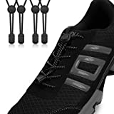Stout Gears No Tie Shoelaces with Lock System | Elastic Shoe Laces for Sneakers (2 Packs, Black-Black)