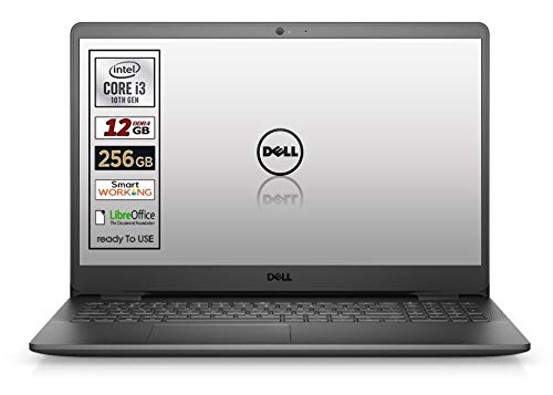 "Notebook SSD Dell, Cpu Intel i3 di 10 Gen. fino a 3,4 GHz, Display 15,6"" ips led SSD nvme da 256 Gb, Ram 12Gb, ddr4, Win10 Pro, Webcam, wi-fi, bt,3 usb, lan, Pronto All'uso, Garanzia Italia"