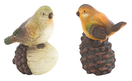 DARO DEKO Keramik Figur Vogel 2 Stück - mit Eichel und Tannenzapfen