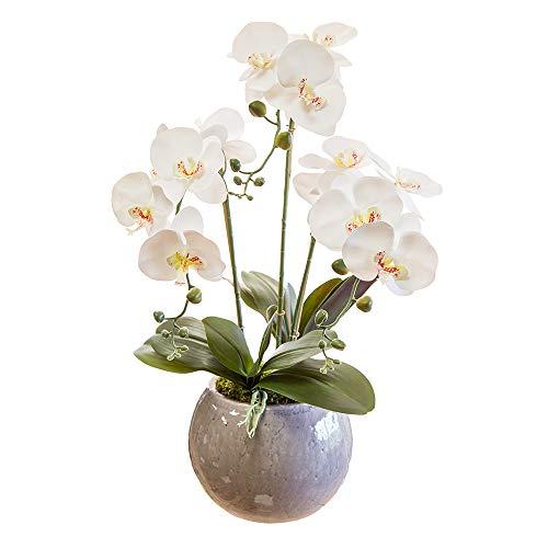Orquidea Artificial, Altura 70cm, Phalaenopsis, Maceta de Cerámica, Ideal para Decoración de Hogar, Tacto Natural (Orquídea 2)