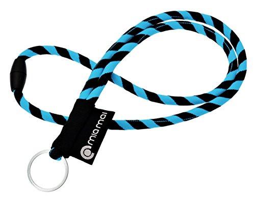 mia mai Tubular Lanyard (azul/negro, 45cm) Cordón de llaves para el cuello con cierre de seguridad, llavero, colgante para llaves