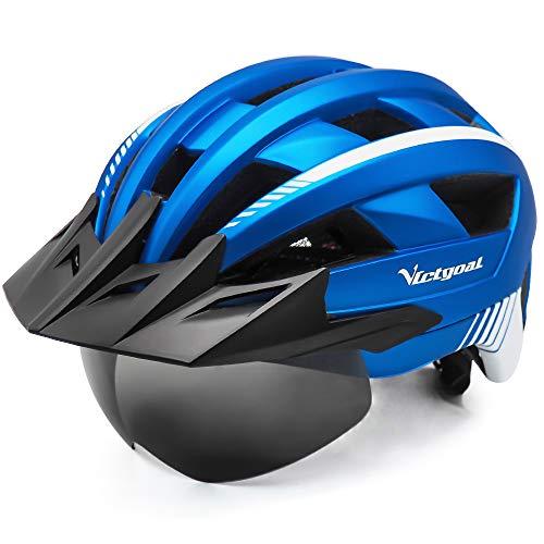 VICTGOAL Fahrradhelm MTB Mountainbike Helm mit abnehmbarem magnetischem Visier Abnehmbarer Sonnenschutzkappe und LED Rücklicht Radhelm Rennradhelm für Erwachsenen Herren Damen (Metalblue)
