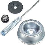 Stihl – Cortacésped con cuchilla adaptadora, placa de transporte, tuerca de ajuste, destornillador de mantenimiento, adaptador de cuchilla, juego de mantenimiento para desbrozadora de césped Stihl.