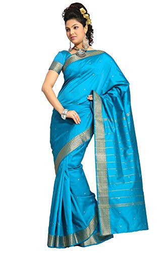 Sanskruti India Womens Indian Ethnic Traditional Banarasi Art Silk Saree Sari Wrap Fabric Dress Drape (Turquoise)