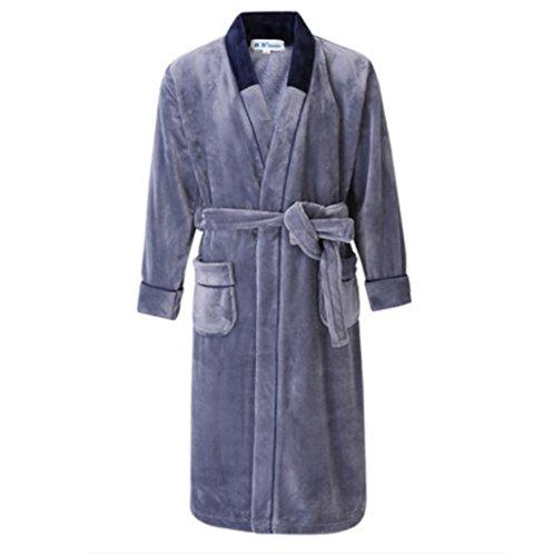 NIGHTSLEEP Herren Bademantel Flanell Stoff große größe männer Nachthemd Herbst und Winter Pyjamas lose typ, t64-a Light Grey, XXXXL