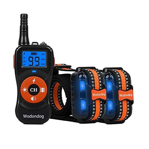 Wodondog Collar de Adiestramiento para Perros Recargable y Resistente al Agua con Vibración 2 Collars