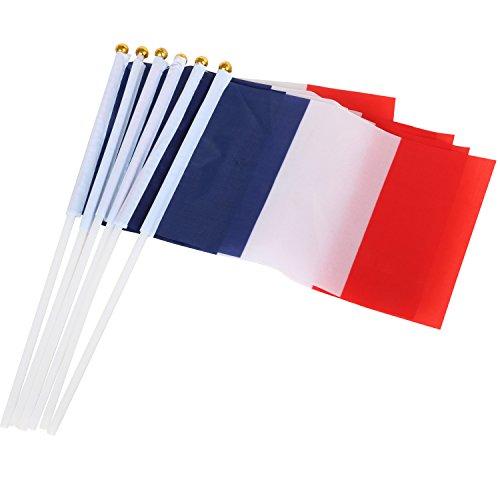 TRIXES 10 französische Handflaggen aus Nylon Frankreich feiern Fahne Fähnchen Bastille Day Feier Sport Fan Unterstützung