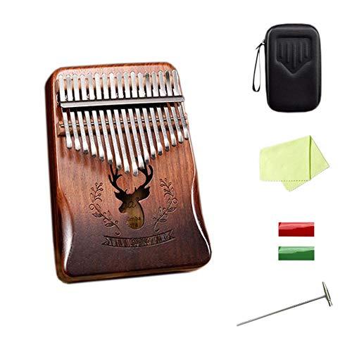 Kalimba mit 17/21 Tasten, hochwertiges Mahagoni-Finger-Klavier mit Anleitung und Stimmhammer, professionelles Marimba-Geschenk für Musikliebhaber, Kinder, Erwachsene, Anfänger (Farbe 4 (17 Tasten))