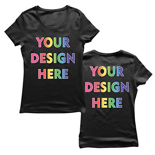 lepni.me Camiseta Mujer Impresión Personalizada de 2 Caras en el Frente y en la Parte Posterior, Texto Personalizado o Diseño de su Propia Imagen (Medium Negro Multicolor)