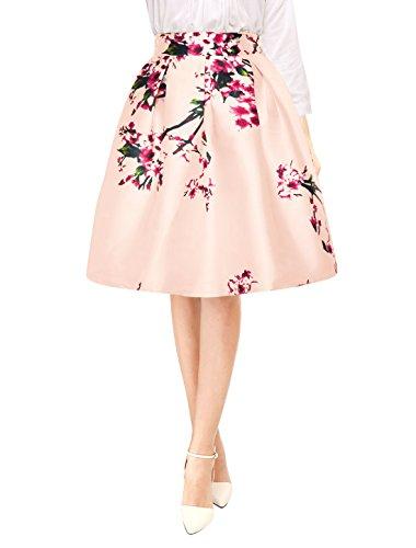Allegra K Falda Midi Plisada A-Línea Estampados Florales Cintura Alta para Mujer