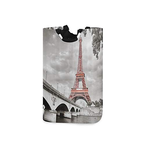 DYCBNESS Cesto para la Colada,Ciudad de París Puente de la Torre Eiffel Capital Cloudscape Imagen de coloración selectiva monocromática,Cesta de lavandería Plegable Grande,Papelera de Lavado Plegable