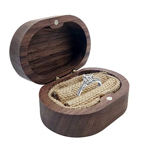 Caja de Madera para Anillo, Joyero Caja de Anillo con Soporte Para Anillo y Cojín Para Compromiso de Propuesta de Boda