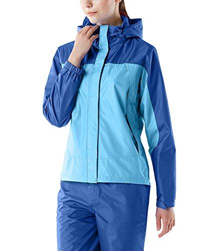 (テスラ)TESLA レディース レインウェア 上下セット アウトドア 登山 雨具 FES20 レインスーツ レインコート かっぱ 合羽上:ブルー/下:ブルー M