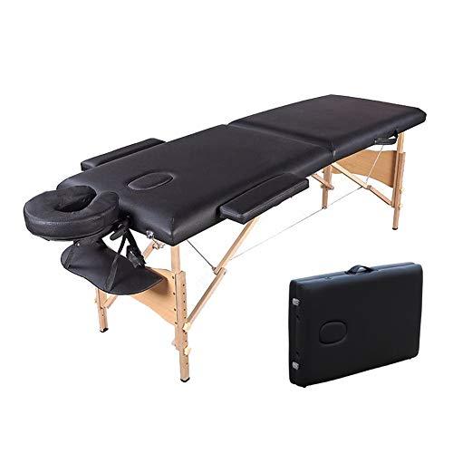 YZT QUEEN massagebed, zwart multifunctioneel thuis, in hoogte verstelbaar, bi-fold massagetafel van hout, kan 225 kg dragen, geschikt voor schoonheid, tatoeage enz.