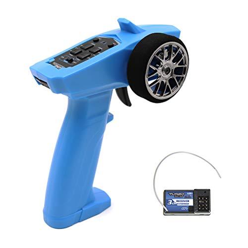 Egosy Mando a distancia para radio digital de 2,4 GHz, 3 canales, transmisor con receptor para coche o barco, mando a distancia original para coche o barco (azul)